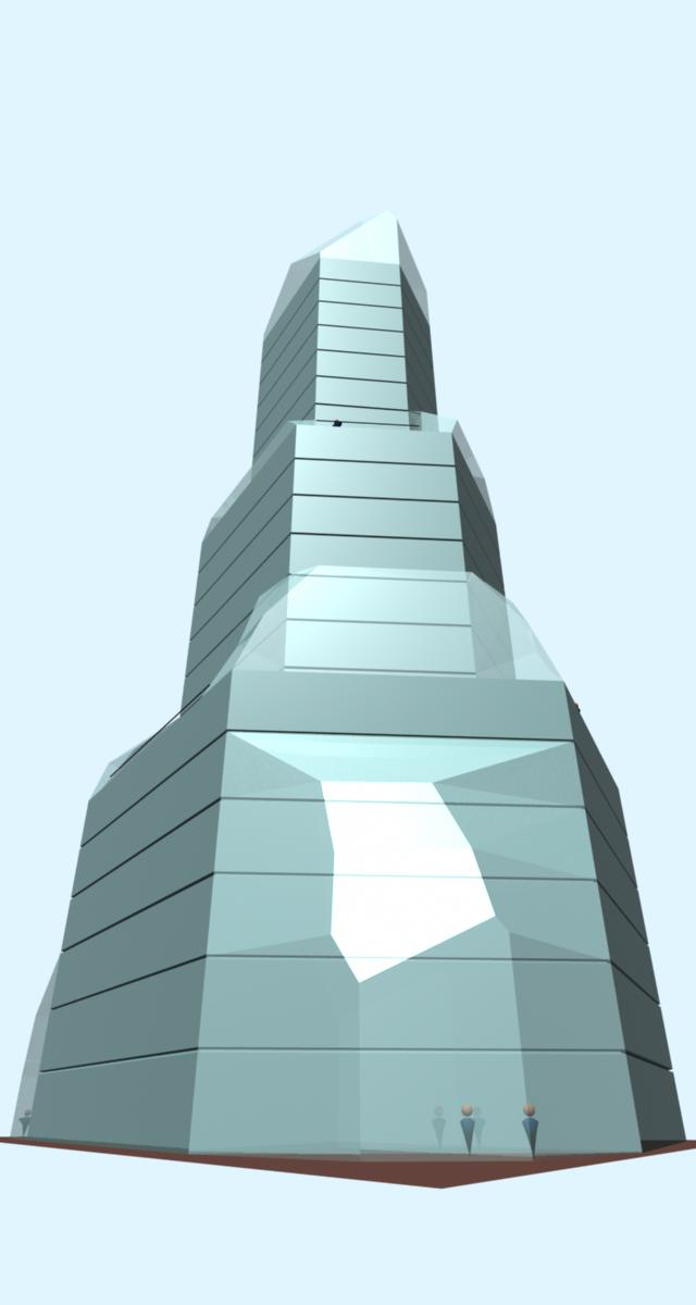 Crystal 26 story building concept illustration