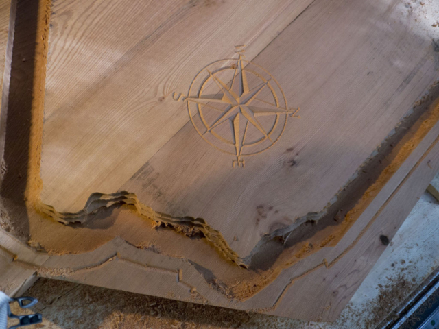 CNC milled California Compass Rose